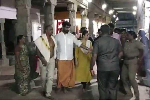 பகவதியம்மன் கோயிலில் நயன்தாரா பரிகார பூஜை! காதலனுடன் வலம் வந்தார்!