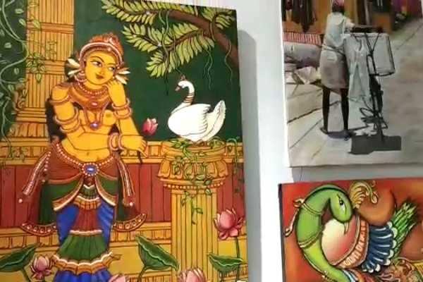 கும்பகோணம்: மாணவ, மாணவிகளின் கண்கவர் ஓவியக்கண்காட்சி