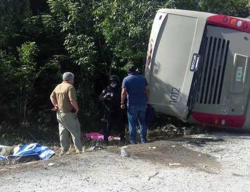 மெக்சிகோ நாட்டில் பேருந்து கவிழ்ந்து 8 பேர் பலி
