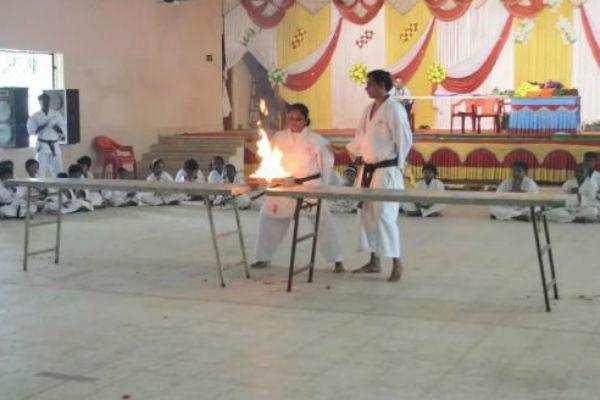 கராத்தே மாணவ மாணவிகளுக்கு தகுதிப்பட்டை வழங்கும் விழா- 500க்கும் மேற்பட்ட மாணவ மாணவிகள் பங்கேற்பு