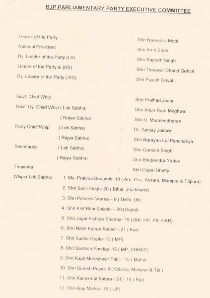 பாஜக நாடாளுமன்றக் குழுத் தலைவர் மோடி; தேசியத் தலைவர் அமித் ஷா!